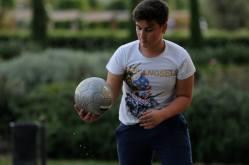 Italian boy plays soccer in Italy