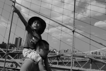 Family on Brooklyn bridge