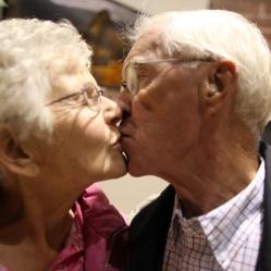 Couple kisses after vows
