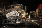 Scene after a truck carrying 40,000 pounds of chicken caught fire on I-490 E.