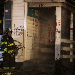 Firefighters after a house fire