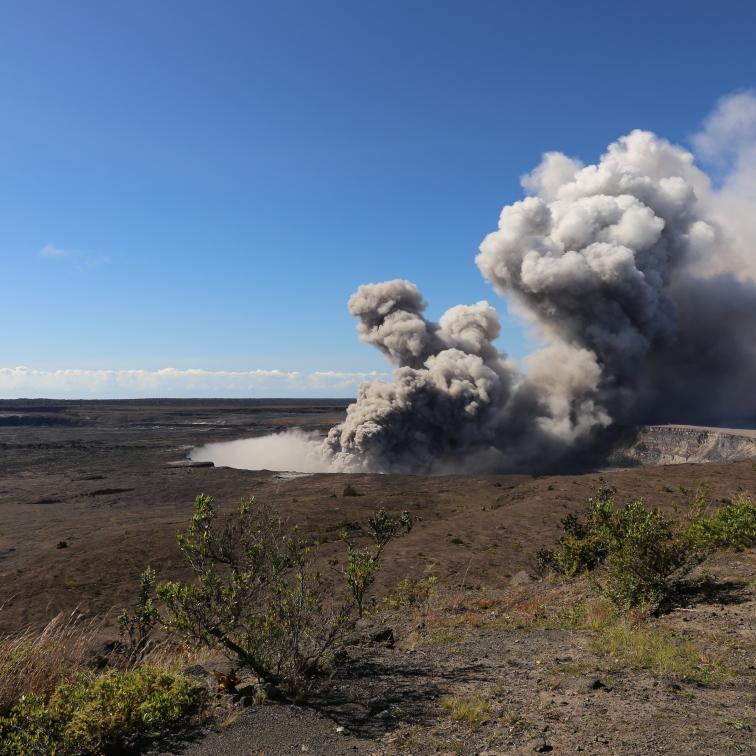 Kilauea Caldera during active eruption