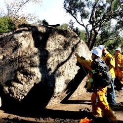 Scientist measure boulder after Montecito Debris Flow